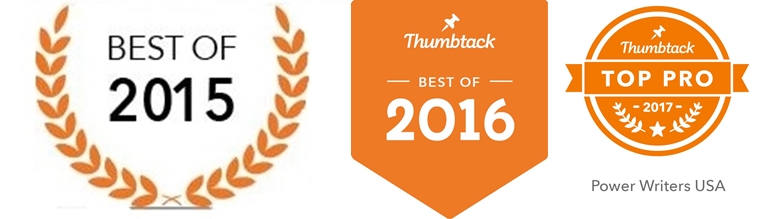 top resume writer award by thumbtack.com, three years in a row